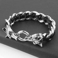 Antiguo lobo cabeza encanto pulsera trenza de acero inoxidable con cuerda de cuero pulseras para hombres brazalete pulsera pulseira