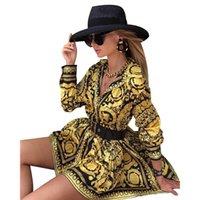 Donne vintage manica lunga camicia mini abito primavera donne sciarpa stampata dashiki vestito pieghettato orlo elegante festa vestidos
