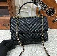 Qualität schwarz Lammfell V gesteppte Chevron Flap Handtasche mit Top Griff 57213 Frauen Echtes Leder Umhängetasche 2020 Dame Mode Kette Tasche