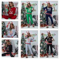 Plus Size Weihnachten Familie Pyjamas Damen Weihnachten Nachtwäsche Patchwork Striped Zweiteilige Sets Pullover T-Shirt + Hosen Legging Anzug E111104