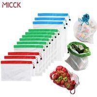 MICCK 12st Wiederverwendbare Ineinander greifen Produce Taschen Waschbar Eco Friendly-Beutel für Einkaufs Lagerung Frucht-Gemüse-Spielzeug Sundries Bag