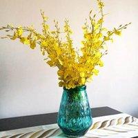 뜨거운 10pcs / lot 노란색 / 화이트 / 핑크 / 블루 호텔 카페 홈 아트 장식 플라스틱 인공 꽃 침실 1에 대 한 90cm 실크 나비 난초