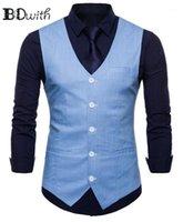 Erkek yelek varış mavi erkek kolsuz slim fit takım elbise yelek tek göğüslü beş düğmeler iş tanışma gelinlik yelek1