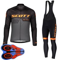 Scott Takımı Bisiklet Erkek Uzun Kollu Bisiklet Jersey 9D Jel Pad Önlüğü Pantolon Set Bisiklet Giyim MTB Bisiklet Üniforma Bisiklet Kıyafetler ROPA S122829