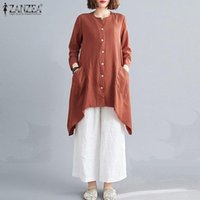 Fashion Irregular Tops Women's Autumn Blouse ZANZEA 2020 Casual Long Sleeve Shirts Female O Neck Blusas Plus Size Solid Tunic