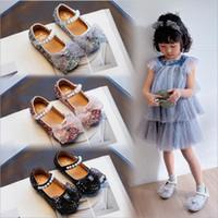 Детские девочки обувь бабочка-узла сверкающие алмазные дети девушки обувь на день рождения подарки балетные квартиры мягкие подошвы детские туфли
