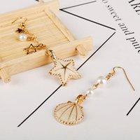 Dangle candelabro moda jóias mulheres brinco verão praia ouro cor mar estrela estrela estrela do mar shell brincos maxi sereia gota pendant1
