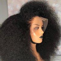 아프리카 kinky 곱슬 머리 13x4 합성 머리 레이스 정면 가발 페루 짧은 레이스 프론트 시뮬레이션 여성을위한 인간의 머리 가발