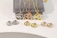 أوروبا الأمريكية الأزياء والمجوهرات مجموعات النساء سيدة التيتانيوم الصلب سلسلة قلادة أقراط مع ز الاولى قلادة 3 لون