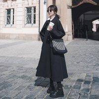 여성용 양모 블렌드 여성을위한 가을 의류 우아한 2021 봄 / 가을 한국어 패션 따뜻한 빈티지 코트 드레스 여자 파커 블랙 긴 Jacke