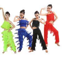 Sahne Giyim Çocuk Latin Dans Kostümleri Balo Salonu Artı Boyutu Saçak Püskül Elbise Pantolon Kızlar Pullu Salsa Samba Çocuk Kıyafetleri Kostüm1