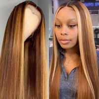 150% Density Black Roots Ombre Blonde Long Straight Wig Can Wash Natural Ponytail Style Glueless Synthetic Lace Front Wigs new16