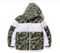 Men's Cotton Coat 20FW Men Winter Jacket Fashion Camouflage Print 3 Stripe Trend Letter Leaf Print Men's Warm Jacket Size S-2XL