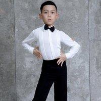 Sahne Giyim Latin Dans Gömlek Erkek Kostüm Yarışması Bluz Salsa Giyim Balo Salonu Uygulama Kıyafetleri JL2181