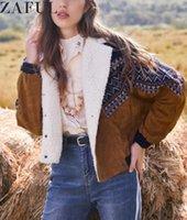 ZAFULE Jacke Tribal Print Mäntel Frauen Herbst Frühling Vintage Outwear Tunika Zweireiher Faux Pelz Cord-Jacken Mantel 201106