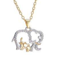 Bicolor grande y colgante, collar de elefante pequeño para regalo de Navidad Día de la Mujer animal linda del encanto Collares Declaración de joyería de la Madre