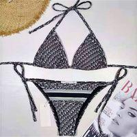 Letras completas conjuntos de bikini impresos para mujeres sexy traje de baño diseñador dividido traje de baño elástico suave traje de natación para vacaciones