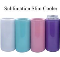 12 Unzen Sublimation Schlanke Cooler Doppelwandkühler Glatt Verkupfertes Cold Storage Tank-Multicolor Kalter Halter Vacuum halten A02 Dosenhalter