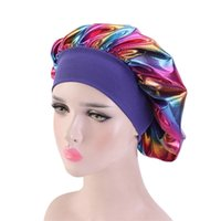 New Styling Wide-Brimmed Nightcap With Elastic Hairband Laser Round Hat Beauty Salon Chemotherapy Hair Caps For Sleeping