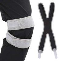 Cotovelo joelho almofadas ao ar livre kneepad ajustável compactação de compressão elástica antiderrapante protetor esportivo strap1