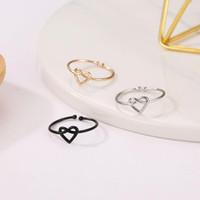 30st / mycket koreanska bundet ihåliga hjärta ringar metall legering kors kärlek ring för kvinnor kvinnlig silver öppning justerbara hand smycken tillbehör