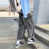 Мужские джинсовые грузовые брюки корейские моды негабаритные свободные Harajuku Streetwear прямые брюки ноги широкие ноги мужские