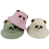 새로운 귀여운 검은 핑크 만화 chapeau femme 태양 모자 Gorro Bear 양동이 모자 여성 숙녀 선물