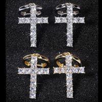 Hip Hop Креста падение серьги для женщин мужчин Vintage ювелирные изделия Cut белый CZ Кубический циркон Алмазный клип Хооп мотаться серьги Рождественский подарок