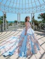 새로운 하늘색 공 가운 여자 여자 미인 드레스 보석 레이스 아플리케 꽃 Peplum 키즈 공식 댄스 파티 유아 첫 번째 친교 가운