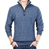 Мужские свитера зимний свитер повседневная пуловер мужской теплый мужчина тонкий стенд воротник вязаные пуловеры мужские пальто половины молнии