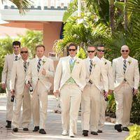 Beige Suits for Wedding Tuxedos Groomsmen Outfit Best Man Blazer 2Piece trajes de hombre Terno Masculino
