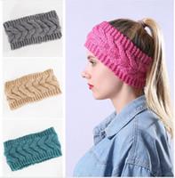 Knit Solide Stirnband Lady Earwarmer Kabel-Stirnband-Haar-Band Headwraps Winter-verdickte Männer Frauen Kopfbedeckung DDA690