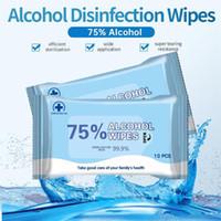 En stock 10 morceaux d'essuyage à la main jetable Stérilisation Portable spot alcool air serviette humide tissu humide nettoyage portable 75% alcoolf fy2021