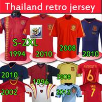 1994 1996 2002 2008 2010 2010 2010 2010 Espanha Retro Jerseys Vintage Clássico A.iniesta Torres Raul Villa Xavi David mangas compridas Camisa de futebol