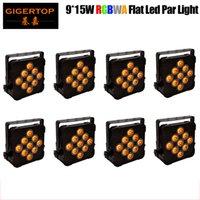 TIPTOP 8pcs / lot Led Sihirli Işık RGBWA Düz Par Işık 9x15W Kulübü DJ Disco Sahne Parti DMX 5 / 9CH'nin Kontrol CE ROHS için 5in1 Ledler