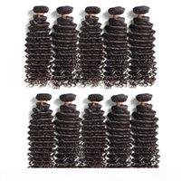 Toptan Malezya Bakire Remy İnsan Saç Demetleri Derin Dalga 1 KG 10 Adet Lot Doğal Renk Kekik Böceği Bir Bağışçı Saç Hizalı