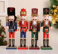 30cm 나무 크리스마스 호두 까 기 인형 인형 꼭두각시 Zakka 크리 에이 티브 데스크탑 장식 대형 크리스마스 장식품 호두 군인 그리기