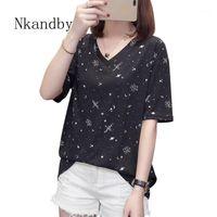 Женская футболка NKANDBY PLUS Размер звездное небо футболка женская летняя одежда Vogue V-образным вырезом с коротким рукавом женский повседневная свободная большая футболка Tops1
