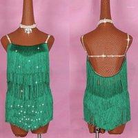 Vendita calda Abiti da ballo latino per signore Green Elastic Backless Stage Gonna Donne Ballroom Garmenti femminili competitivi E0051