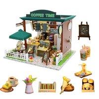 Coffee Dollhouse Kit DIY Muñeca de madera Casa 1:24 Muñecas Casa Miniaturas Casa Accesorios para niños Poppenhuis Bouwpakke LJ200909