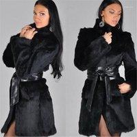 Abrigo de piel de nuevo estilo europeo y americano de moda, pelaje y abrigo de longitud media para mujer1