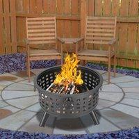 Waco 26 inç Yuvarlak Yangın Çukuru BARBEKÜ Grills, Kase Şekilli Demir, Açık Mangal Ahşap Yanan veya Kömür Kullanımı Dekorasyon Backdyard Pointside Siyah