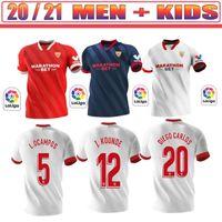 Top Thai 2020 2021 Sevilla Ever Banega Sevilla FC Soccer Jersey 20 21 Rakitic J.Navas Nolito de Jong Uniforme de fútbol Rodríguez Men Kit Kids