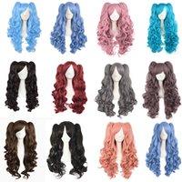 28 дюймов / 70 см Лолита Длинные вьющиеся 2 Ponytails клип на косплей парик синтетические парики Термостойкое волокно