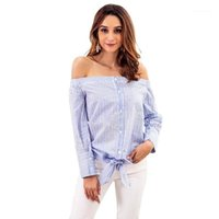 Blouses Femmes Chemises Spring Automne Stripe Top Femmes Wear One-Word Sleeve à manches longues Sexy Band Shirt 1