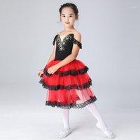 무대 착용 블랙 레드 얇은 명주 그물 의상 여성 스페인어 드레스 성인 소녀를위한 스페인어 드레스 아이 춤 긴 낭만적 인 투투 성능 의상 1