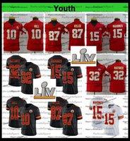 2021 Superbowlv Patch Youth Kids 15 Patrick Mahomes 10 Tyreek Hill 87 Travis Kelce 32 Tyrann Mathieu футбольные трикотажные изделия Black AC1