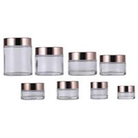 Bouteilles de crème de verre transparentes rondes de la main cosmétique jar 5g 10g 15g 20g 30g 50g 100g emballant des bouteilles d'emballage avec or brillant