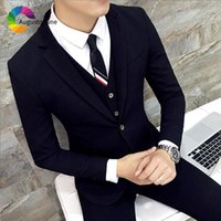 Smart Casual Black Men Suits Slim Fit Wedding Groom Tuxedos ...