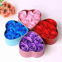 6 unids corazón con perfumado cuerpo cuerpo pétalo rosa flor jabón amor corazón caja de metal contenedor ducha rosa flor decoración romántico regalo1